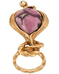 Saint Laurent - Large Knot Stone And Pearl Ring - Lyst