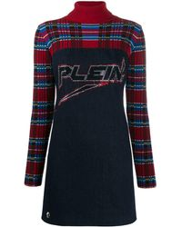 Philipp Plein Tartan Print Mini Dress - Blue