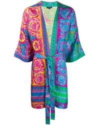 Versace Fluo Barocco Print Dressing Gown - Blue