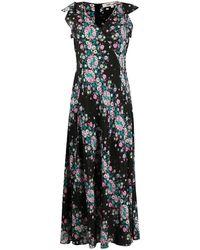 Diane von Furstenberg フローラル ロングドレス - ブラック