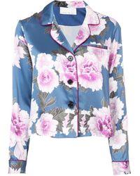 Fleur du Mal フローラル パジャマシャツ - ブルー