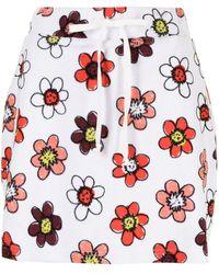 Miaou Minifalda con estampado floral y cierre de lazo - Blanco