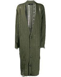Amiri Distressed Cable-knit Cardigan - Green