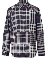 Burberry Клетчатая Рубашка В Технике Пэчворк - Многоцветный