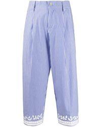 Ermanno Scervino Pantalon crop rayé à détails brodés - Bleu