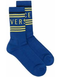 Versace Носки В Рубчик С Логотипом - Синий