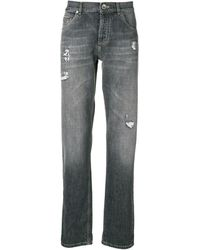Brunello Cucinelli Distressed Straight Leg Jeans - グレー