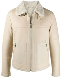 Karl Lagerfeld Shearling Trim Leather Jacket - Natural