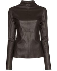 Bottega Veneta Turtleneck Leather Top - Brown