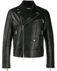 DSquared² Logo Print Biker Jacket - Black