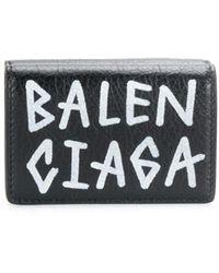 Balenciaga キャリー ミニウォレット グラフィティ - ブラック