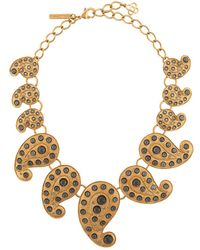 Oscar de la Renta Embellished Paisley Necklace - Metallic