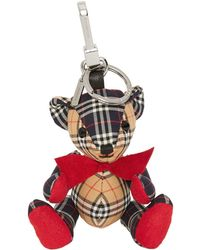 Burberry Thomas Bear Charm In Small Scale Check Cotton - Multicolor