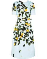 Oscar de la Renta Lemon-print jacquard midi dress - Blu