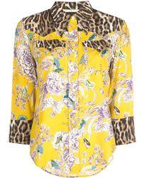 R13 Floral Leopard Print Shirt - Yellow