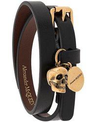 Alexander McQueen Bracelet deux tours à breloques - Noir