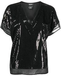 DKNY スパンコール ブラウス - ブラック