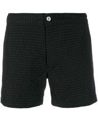 Officine Generale Checked Swim Shorts - Black