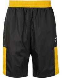 A Bathing Ape Contrast-panel Track Shorts - Black