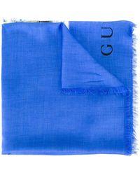Gucci Écharpe à tigre imprimé - Bleu