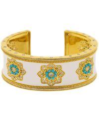 Buddha Mama 20kt Yellow Gold, Enamel, Diamond And Turquoise Mandalas Cuff