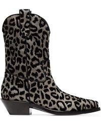 Dolce & Gabbana Ковбойские Сапоги 'texan 40' С Леопардовым Принтом - Черный