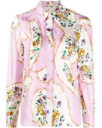 Tory Burch Рубашка С Цветочным Принтом - Розовый