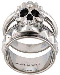 Alexander McQueen Anillo con doble calavera - Metálico