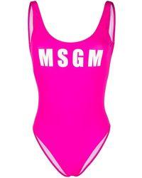 MSGM ロゴ ワンピース水着 - ピンク