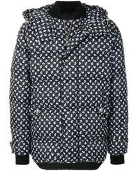 Versus Patterned Puffer Jacket - Black