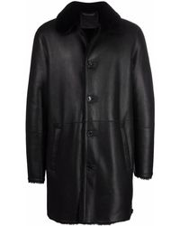 DESA NINETEENSEVENTYTWO Buttoned-up Shearling Coat - Black