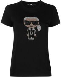 Karl Lagerfeld T-shirt à ornements en cristal - Noir