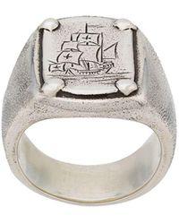 Henson - Anillo con sello con barco grabado - Lyst