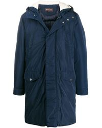 Michael Kors Shearling Hood Parka Coat - Blue