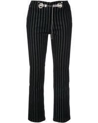 Miaou Morgan Striped Velvet Pant - ブラック