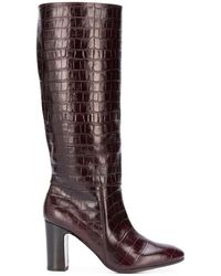 Chie Mihara Enis Crocodile-effect Knee Boots - Red