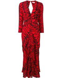 RIXO London Rose Vネック ドレス - レッド