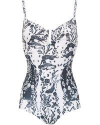 Martha Medeiros Printed Swimsuit - White