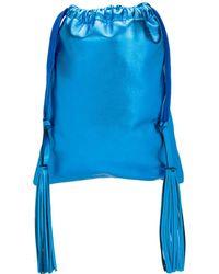 The Attico Leather Metallic Bucket Bag - Blue