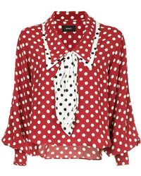 G.v.g.v - Polka Dot Shawl Collar Blouse - Lyst