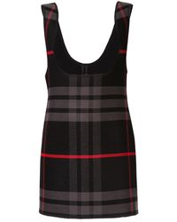 Yang Li プランジ チェックドレス - ブラック