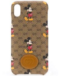 Gucci X Disney iPhone XS-Hülle mit Micky Maus - Braun