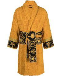 Versace Короткий Халат С Принтом Barocco И Логотипом - Желтый