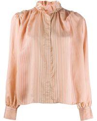 Forte Forte Полосатая Рубашка С Оборками - Розовый