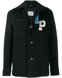 Lanvin Wool Coat With Embroidery On Chest - Blue