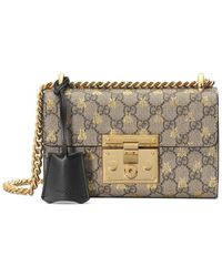 Gucci Gold GG Bees Padlock Small Shoulder Bag - Meerkleurig