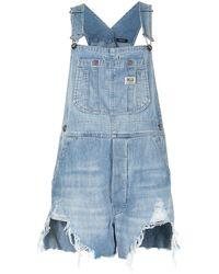 R13 Jeans-Latzshorts in Distressed-Optik - Blau