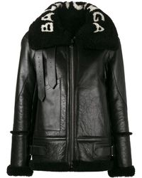 Balenciaga Oversized Le Bombardier Shearling Jacket - Black