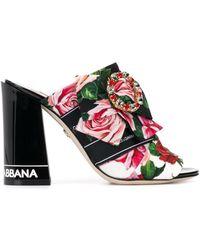 Dolce & Gabbana Мюли С Цветочным Принтом - Черный