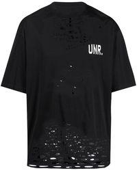 Unravel Project ダメージ ロゴ Tシャツ - ブラック